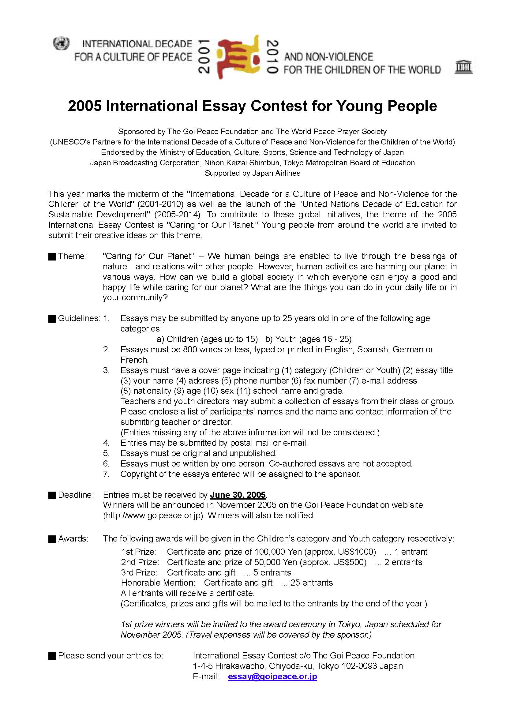 Simple Essays For High School Students  Proposal Essay Topic Ideas also Proposal Essays Past Contests  The Goi Peace Foundation Example Essay Thesis Statement