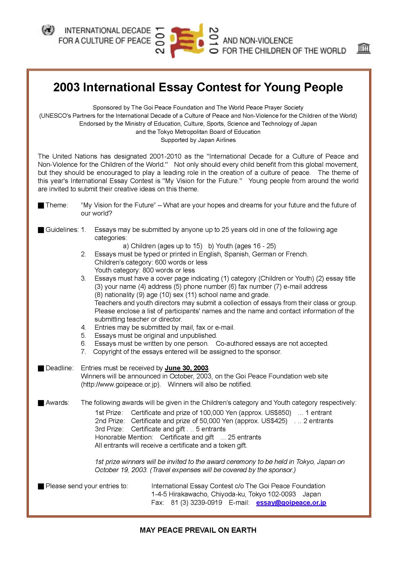 youth essay words essay on the youth power past contests the goi  past contests the goi peace foundation 2003 essay unemployment solution essay unemployment solution youth